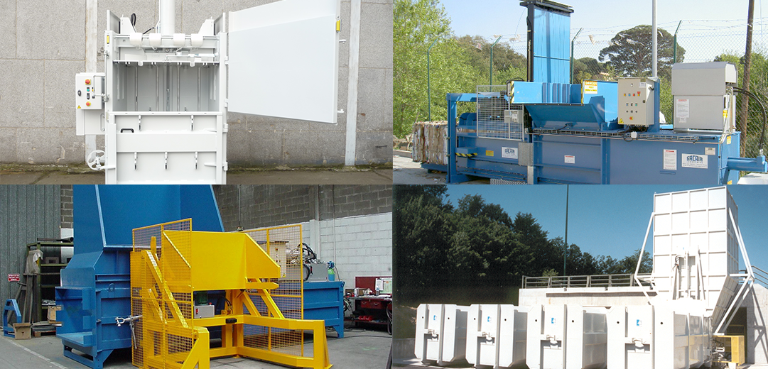 Vertical and horizontal balers, compactors, shredder